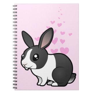 Amor del conejo (pelo liso del oído uppy) libros de apuntes con espiral