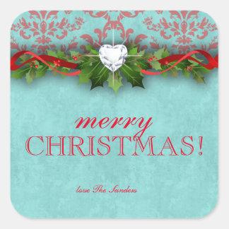 AMOR del corazón del damasco del Año Nuevo del Pegatina Cuadrada