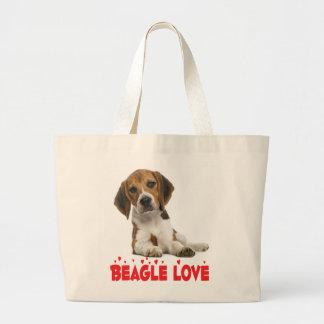 Amor del corazón del negro del perro de perrito bolsa de tela grande