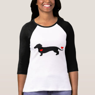 Amor del Dachshund - perro femenino con los Camiseta