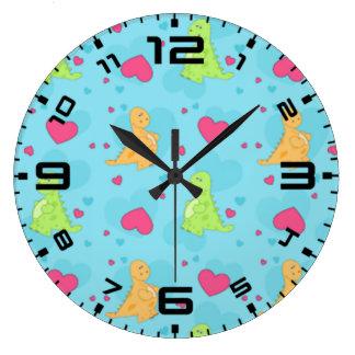 Amor del dinosaurio reloj redondo grande