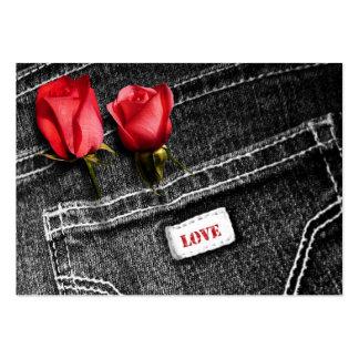 Amor del dril de algodón. Etiqueta del regalo del Tarjetas De Visita Grandes