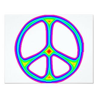 Amor del Hippie de los años 60 del signo de la paz Invitación 10,8 X 13,9 Cm
