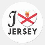 Amor del jersey etiquetas redondas