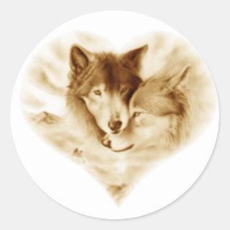 Amor del lobo pegatina redonda