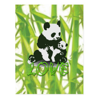 Amor del oso de panda para su bebé tarjeta postal