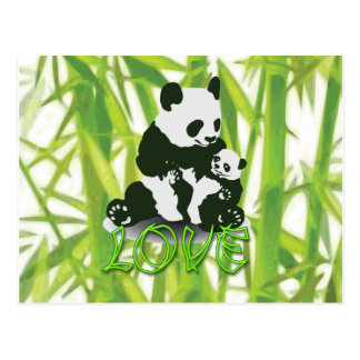Amor del oso de panda para su bebé postal