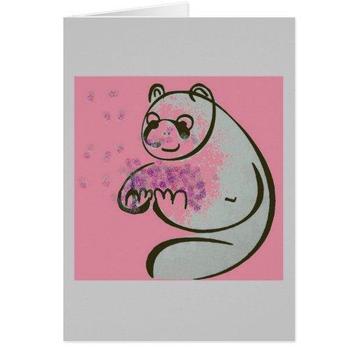 Amor del oso de panda felicitación