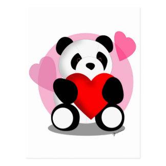 Amor del oso de panda tarjeta postal