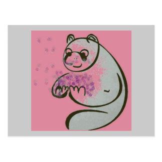 Amor del oso de panda postal