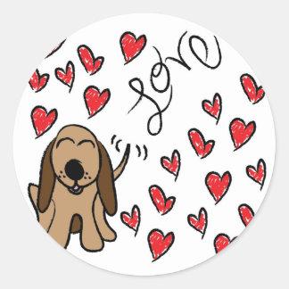 Amor del perro de caza pegatina redonda