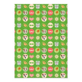 Amor del perro en verde invitación 12,7 x 17,8 cm