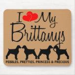 Amor del personalizado I mis cuatro Brittanys Tapete De Raton