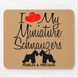 Amor del personalizado I mis dos Schnauzers miniat Alfombrillas De Ratón