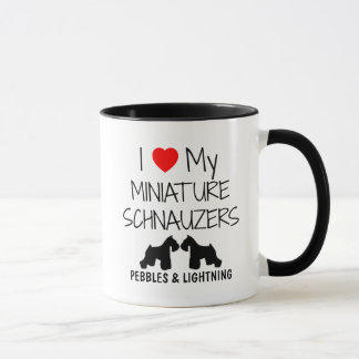 Amor del personalizado I mis dos Schnauzers Taza