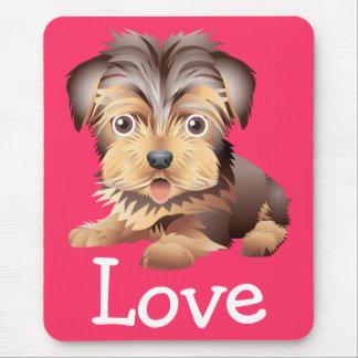 Amor del rosa del perro de perrito de Yorkshire Alfombrilla De Ratón