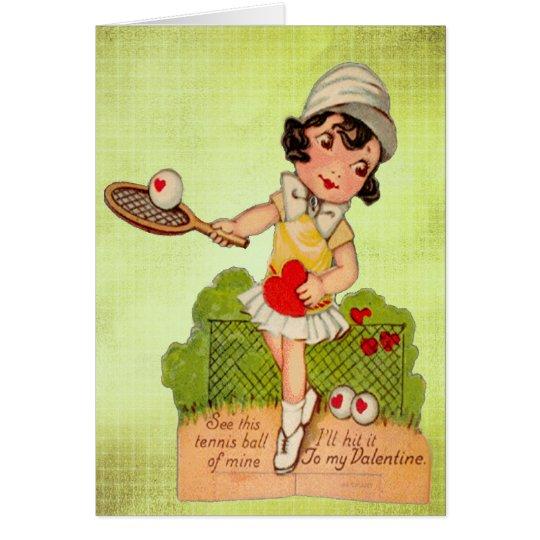 Amor del tenis de la tarjeta del día de San