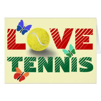 Amor del tenis tarjeta de felicitación
