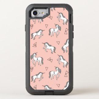 Amor del unicornio - blanco en pálido - funda OtterBox defender para iPhone 7