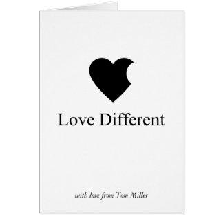 Amor diferente tarjeta de felicitación
