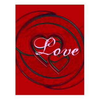 Amor doble de los corazones postal