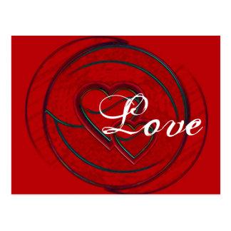 Amor doble de los corazones tarjeta postal