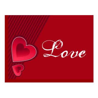 Amor doble de los corazones postales