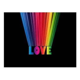 Amor en colores del arco iris postales