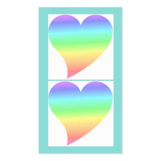 Amor en colores pastel del arco iris del corazón r tarjetas de visita