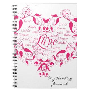 Amor en cualquier lengua en diario del boda de las libretas