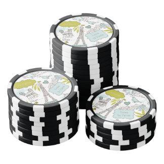 Amor en el modelo de París Fichas De Póquer