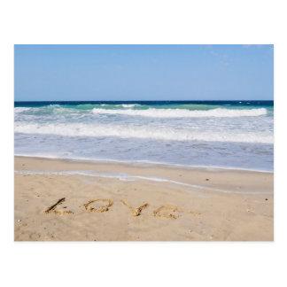 Amor en la arena escrito - tarjeta postal