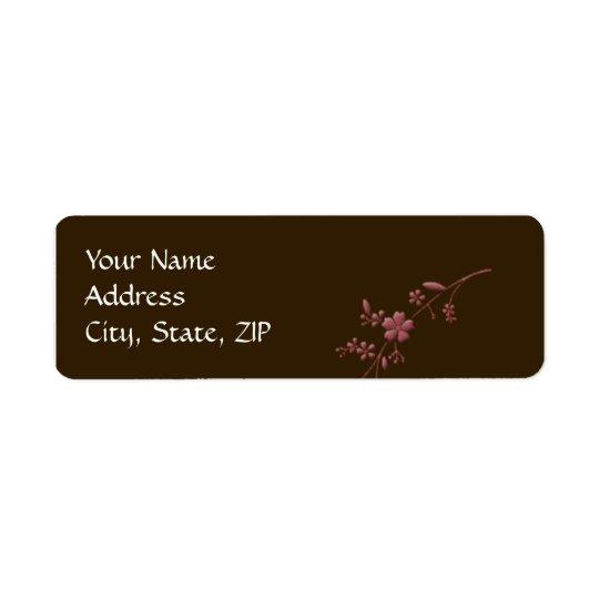 Amor en la floración: Marrón con la flor de cerezo Etiqueta De Remite