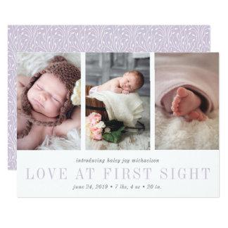 Amor en la primera invitación del nacimiento de la