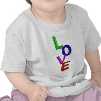 AMOR en letras del color 3D Camisetas