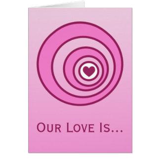 Amor en tarjeta del día de San Valentín de la blan