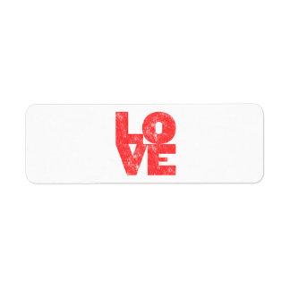 Amor (estilo grande de la prensa de copiar del blo etiqueta de remite