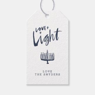 Amor + Etiqueta ligera del regalo de Jánuca -