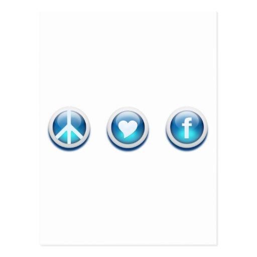 Amor Facebook de la paz Postal