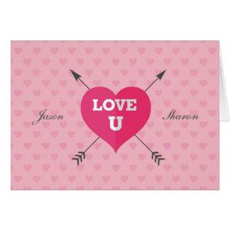 Amor firmado y anticuado U tarjeta de felicitación