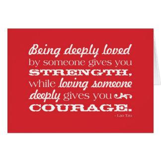 Amor = fuerza y valor tarjeta de felicitación