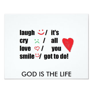 amor, grito, risa, sonrisa invitación 10,8 x 13,9 cm