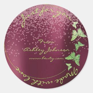 Amor hecho para usted mariposa verde Borgoña del Pegatina Redonda