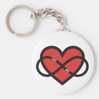 amor interminable, corazón rojo con la muestra del llavero redondo tipo chapa