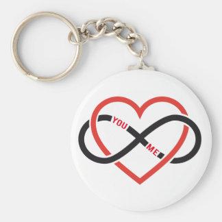 amor interminable, corazón rojo con la muestra del llavero