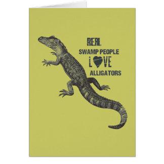Amor juvenil del cocodrilo tarjeta pequeña