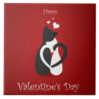 Amor lindo de los gatos del el día de San Valentín Azulejo