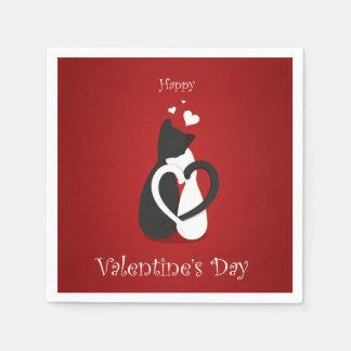 Amor lindo de los gatos del el día de San Valentín Servilleta Desechable