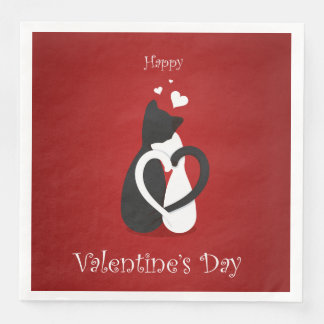Amor lindo de los gatos del el día de San Valentín Servilletas De Papel
