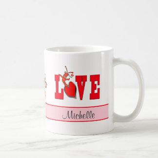 Amor lindo personalizado de la langosta de los taza de café